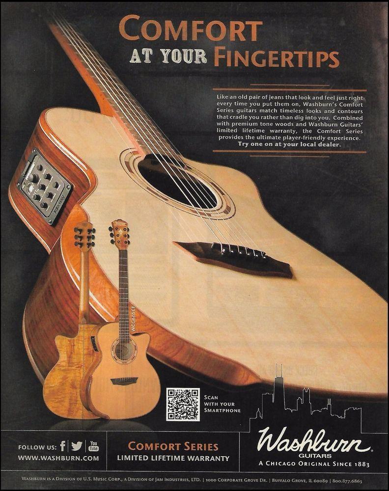 Washburn Comfort Series WCG66SCE Acoustic Guitar ad 8 x 11