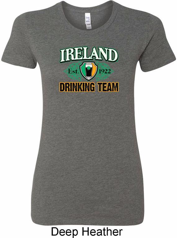 d350c3305 Ladies St Patrick's Day Shirt Ireland EST 1922 Drinking Team Longer Length  Tee T-Shirt XIT-11353-600