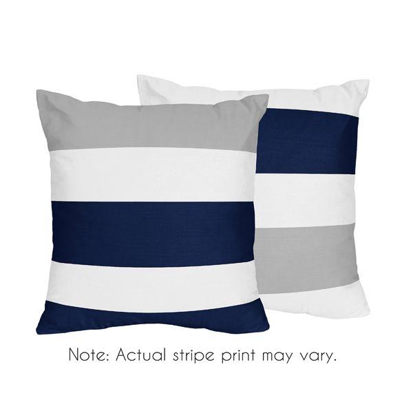 White, Blue & Gray Stripe Accent Throw Pillows - Sweet Jojo Designs