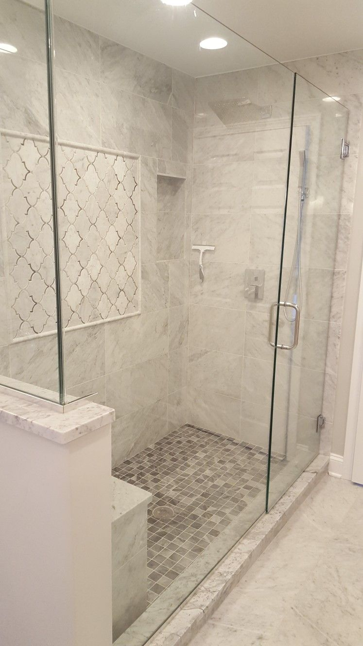 Oversized Marble Shower Design With Bench Bathroom Remodel
