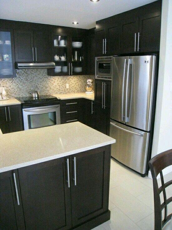 Gabinetes  Home decor in 2019  Cocinas oscuras Cocinas