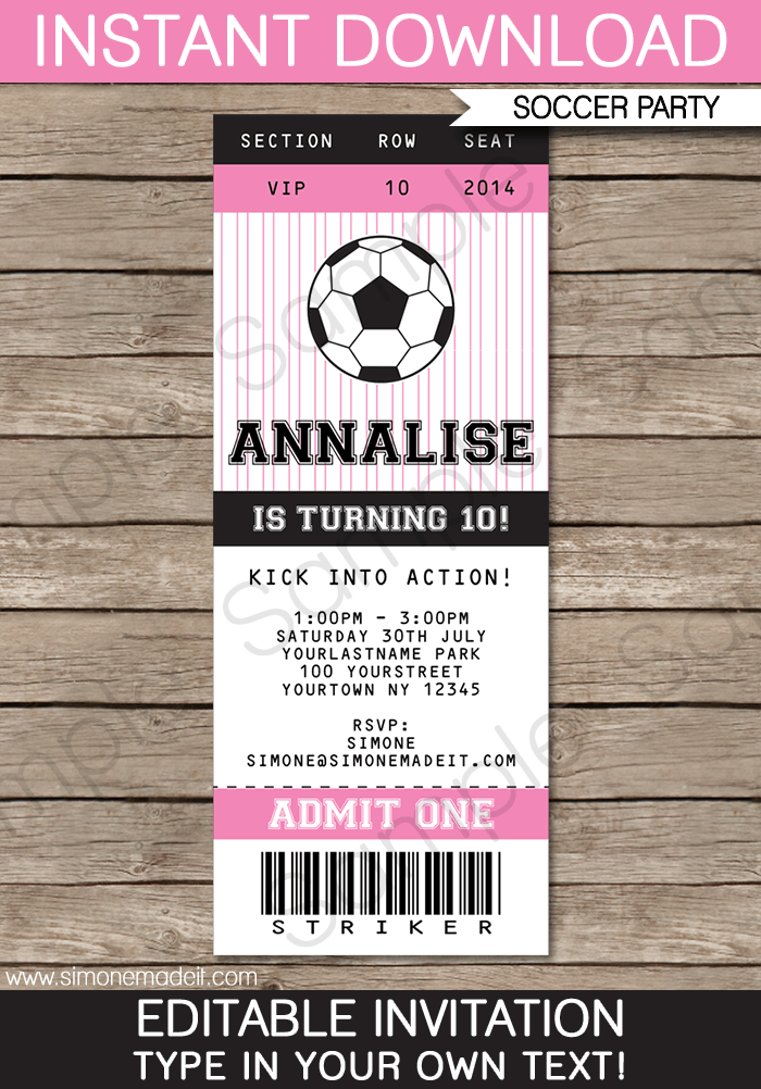 Soccer Ticket Invitations Template  Pink  Ticket Invitation And