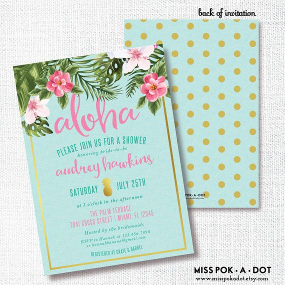 gold pineapple aloha tropical flower bridal shower invitation luau, Baby shower invitations