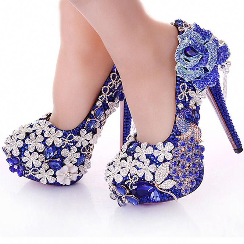 5f0e6308c4a Blue Crystal Wedding Dress Shoes Rhinestone Peacock Gorgeous High Heel Shoes  Nightclub Prom Dress Shoes Bridal Dress Shoes-in Women s Pumps from Shoes  on ...