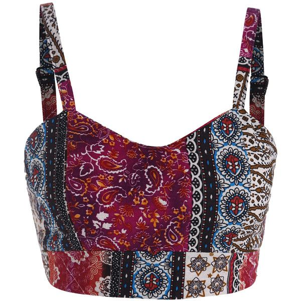 Spaghetti Strap Tribal Print Cami Top (100 SEK) ❤ liked on Polyvore featuring tops, crop top, shirts, tank tops, bralets, multicolor, polyester shirt, crop tank top, crop tank and bralette crop top