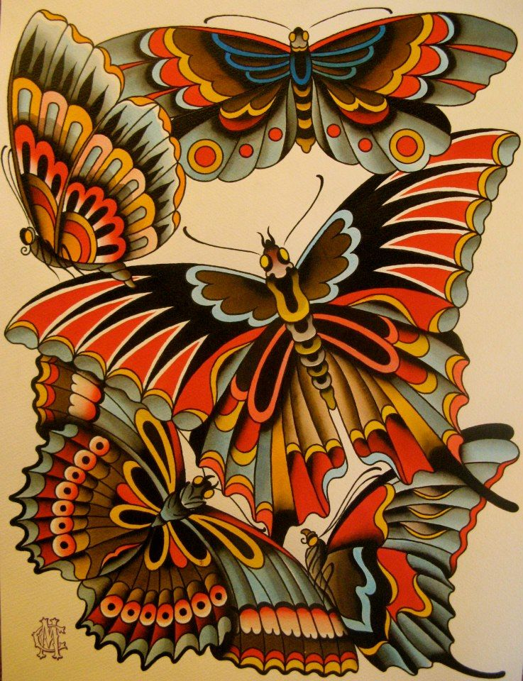 Traditional Butterfly Tattoo Flash: Follow My #traditional #tattoos Board! Www.eff-style.com