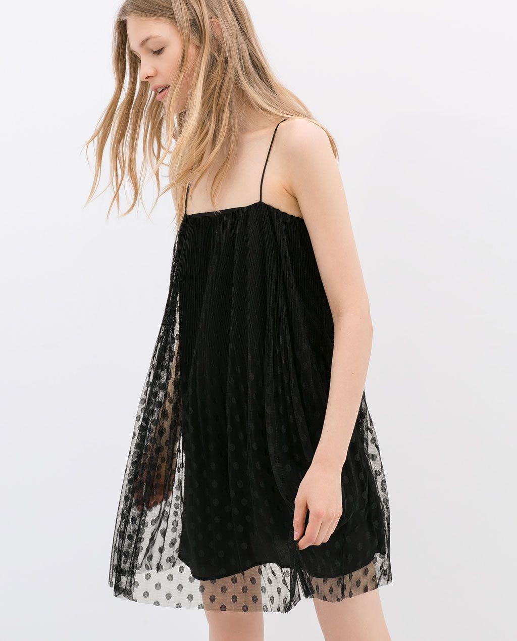 Plumetti Dress Woman New This Week Zara United Kingdom Sheer Overlay Dress Pretty Robes Dresses [ 1269 x 1024 Pixel ]