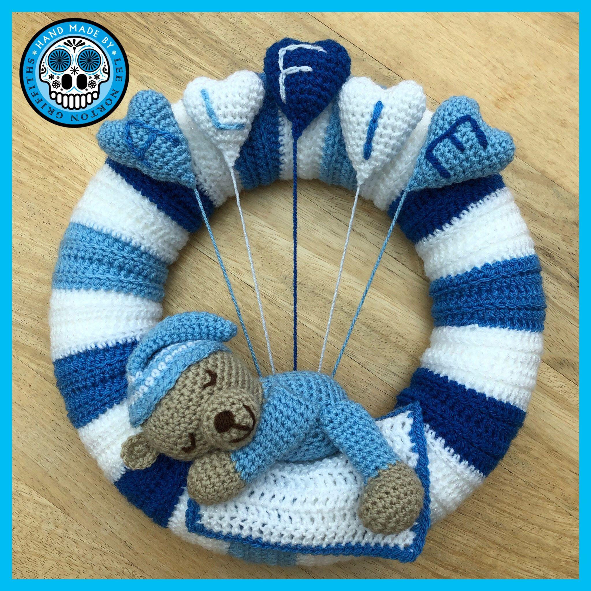 Photo of Crochet Baby Shower wreath pattern, Crochet baby shower gift pattern, Crochet Christening gift pattern, amigurumi baby shower pattern
