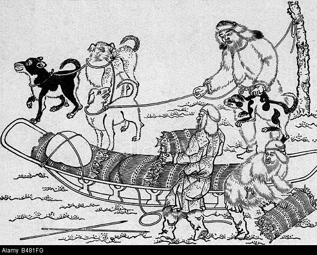 Ainu with dogsled, Japanese woodcut.