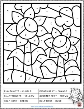 Fall Color By Music Notes And Rests Sheets Fall Music Activities Music Coloring Sheets Music Coloring