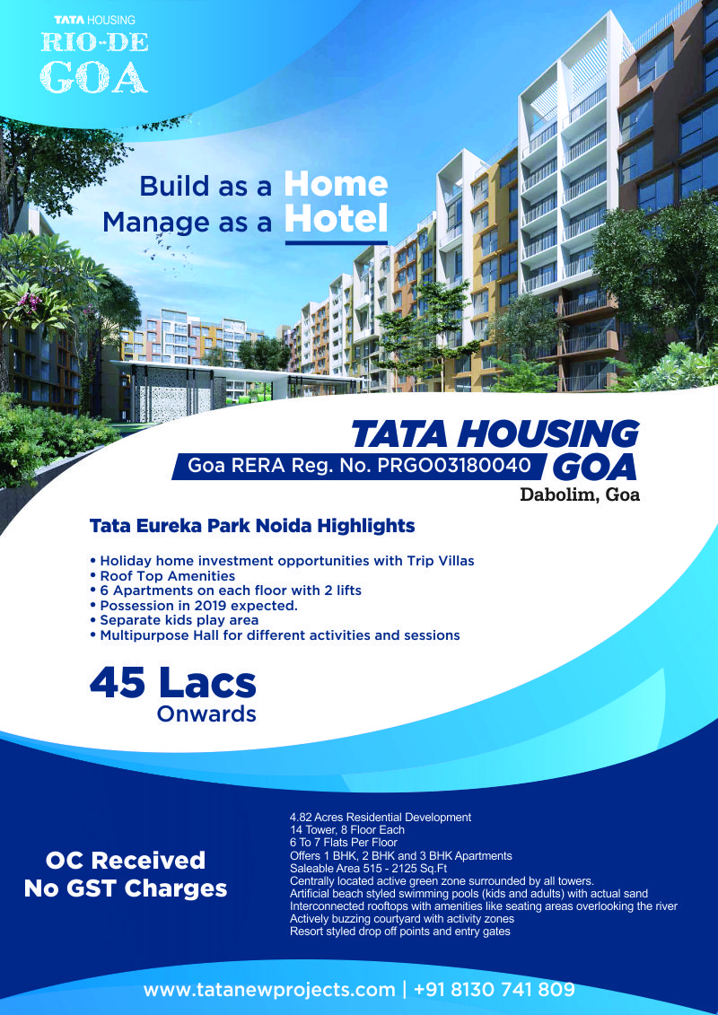 Buy Your Holiday Home In Goa With Paying Gst From Tata Rio De Goa
