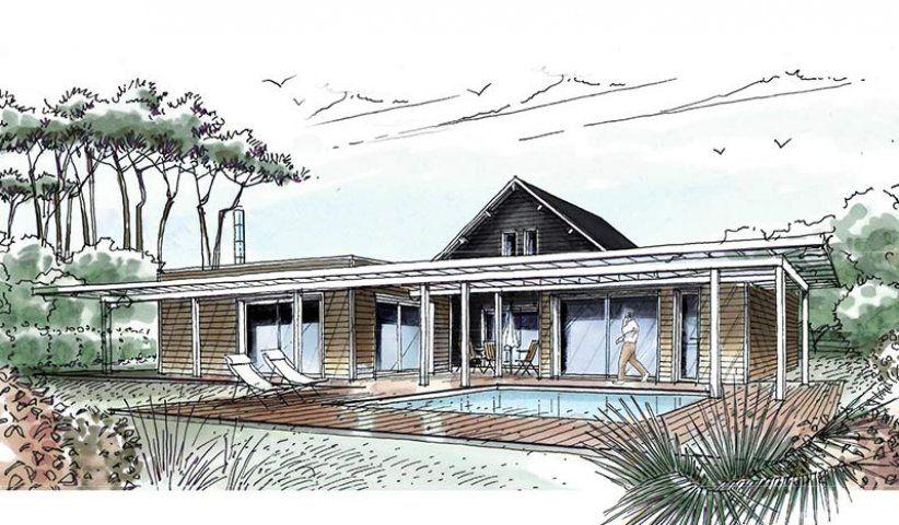 Maison OSSATURE BOIS à étage 184 m² 5 chambres Villas, Modern and - plan maison avec tour carree