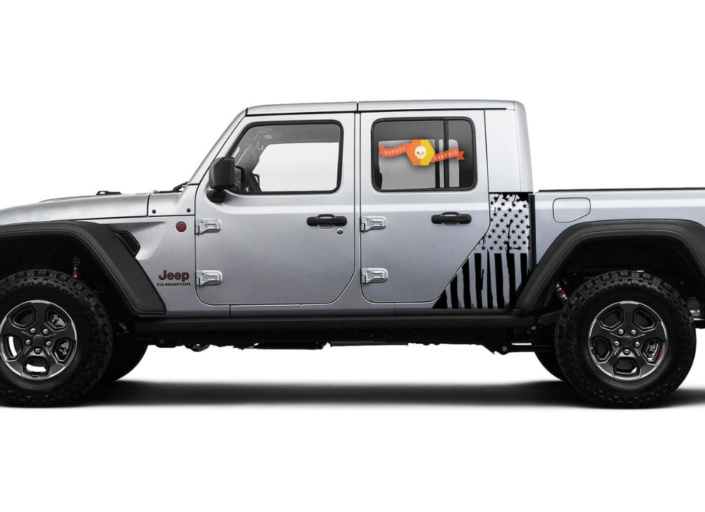 Jeep Gladiator Side Flag Usa Mountains Forest Decal Vinyl Sticker
