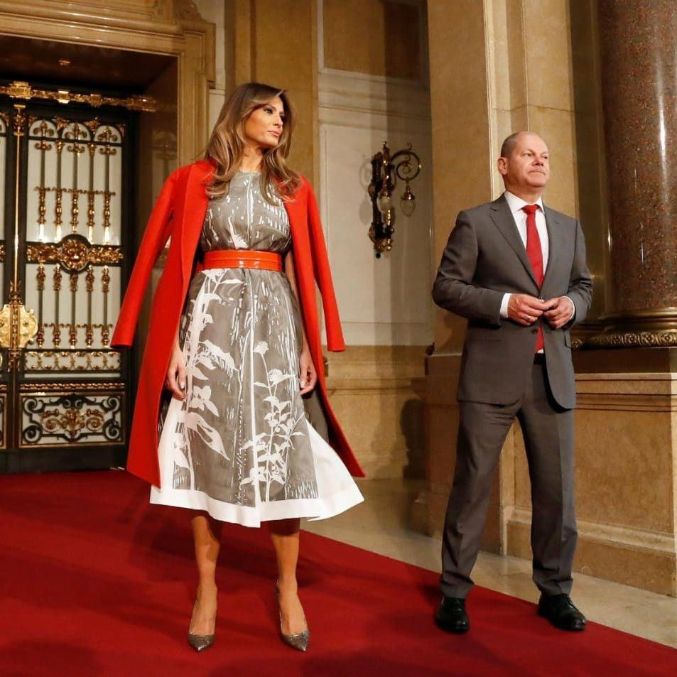 Melania Trump, wife of US President Donald J. Trump with First Mayor of  Hamburg