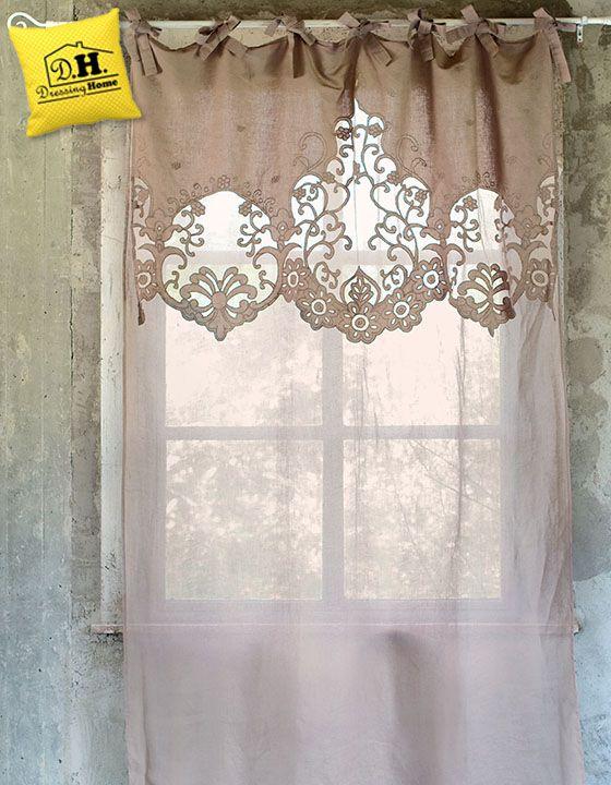 87c00d2fa6 Elegante tenda con mantovana ricamata in colore malva. | interior ...