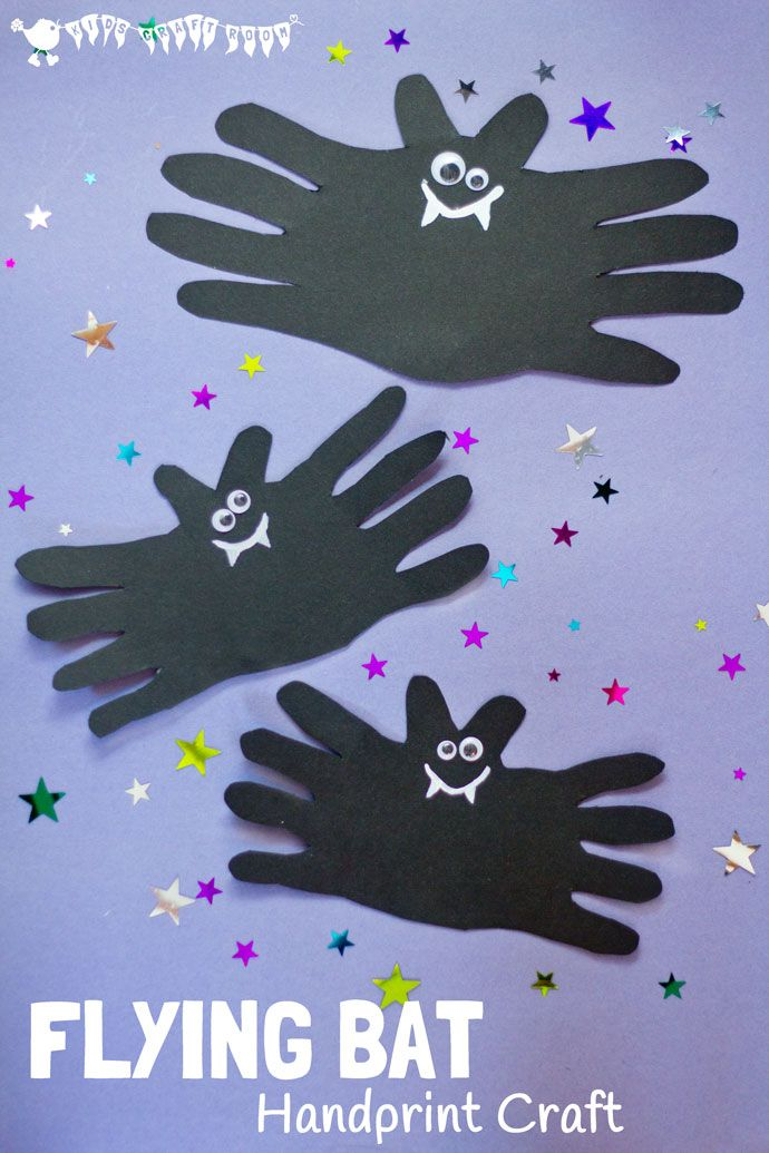 Halloween Bat Handprint Craft Halloween kids, Decoration and Plays - halloween decorations to make at home for kids