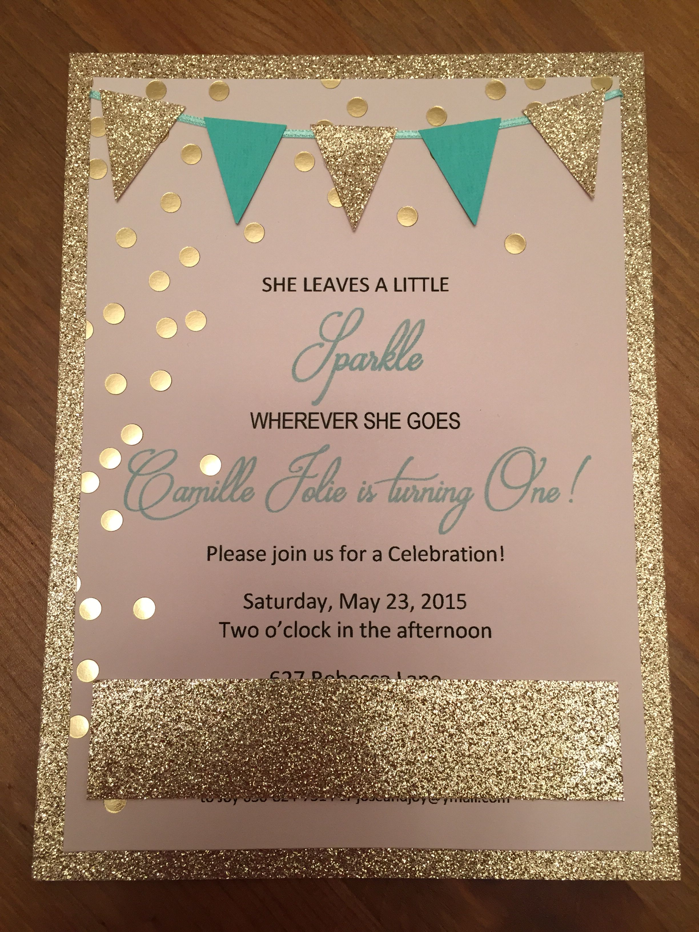 DIY Glamour invitations for baby girls first birthday! | Camille\'s ...