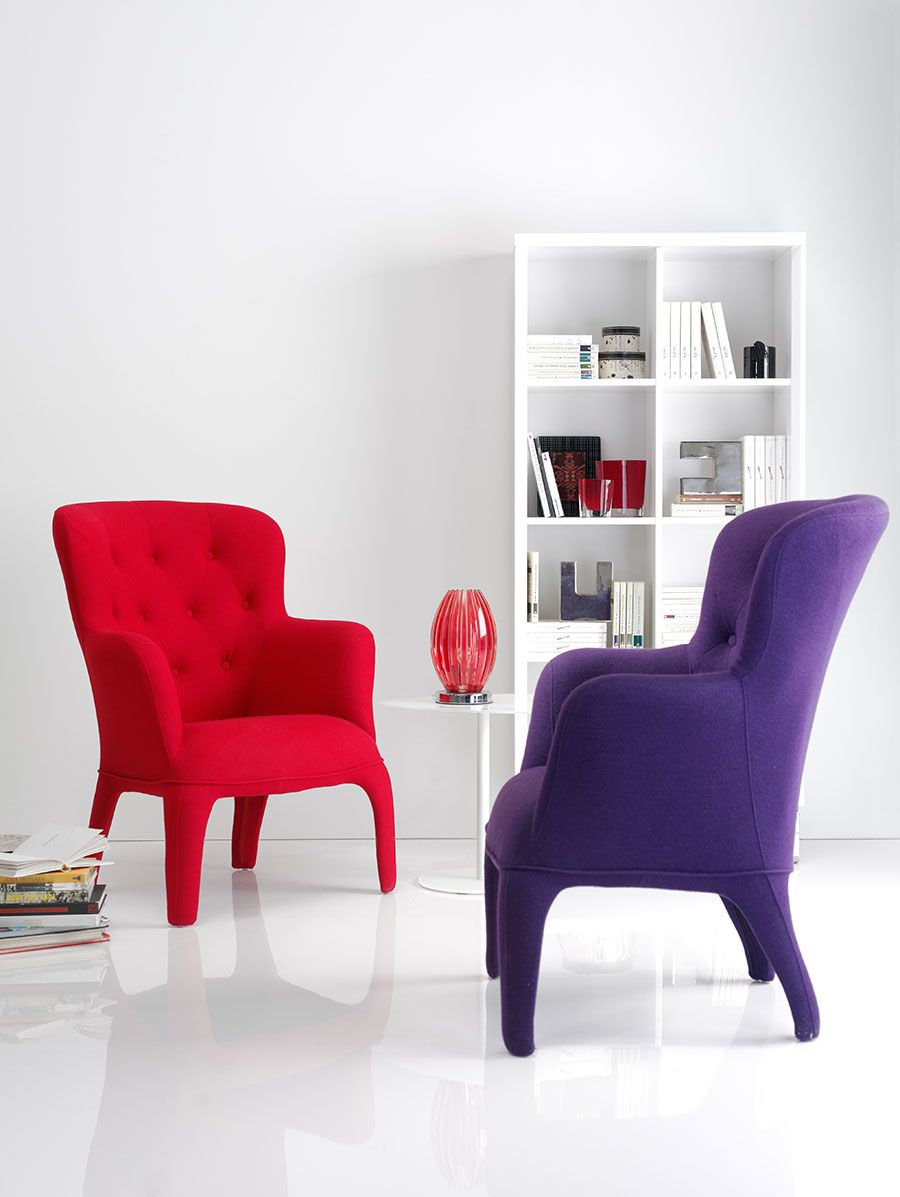 Fauteuil Rouge Ou Violet En Polycarbonate Et Tissu Design  # Muebles Lafayet