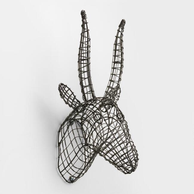 Gray Wire Antelope Bust | World Market