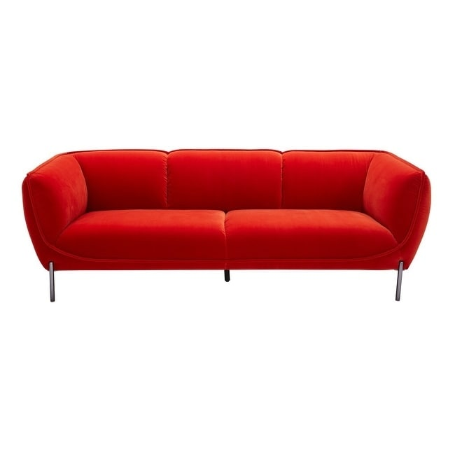 Divani Casa Loma Modern Red Velvet Sofa Metal In 2019
