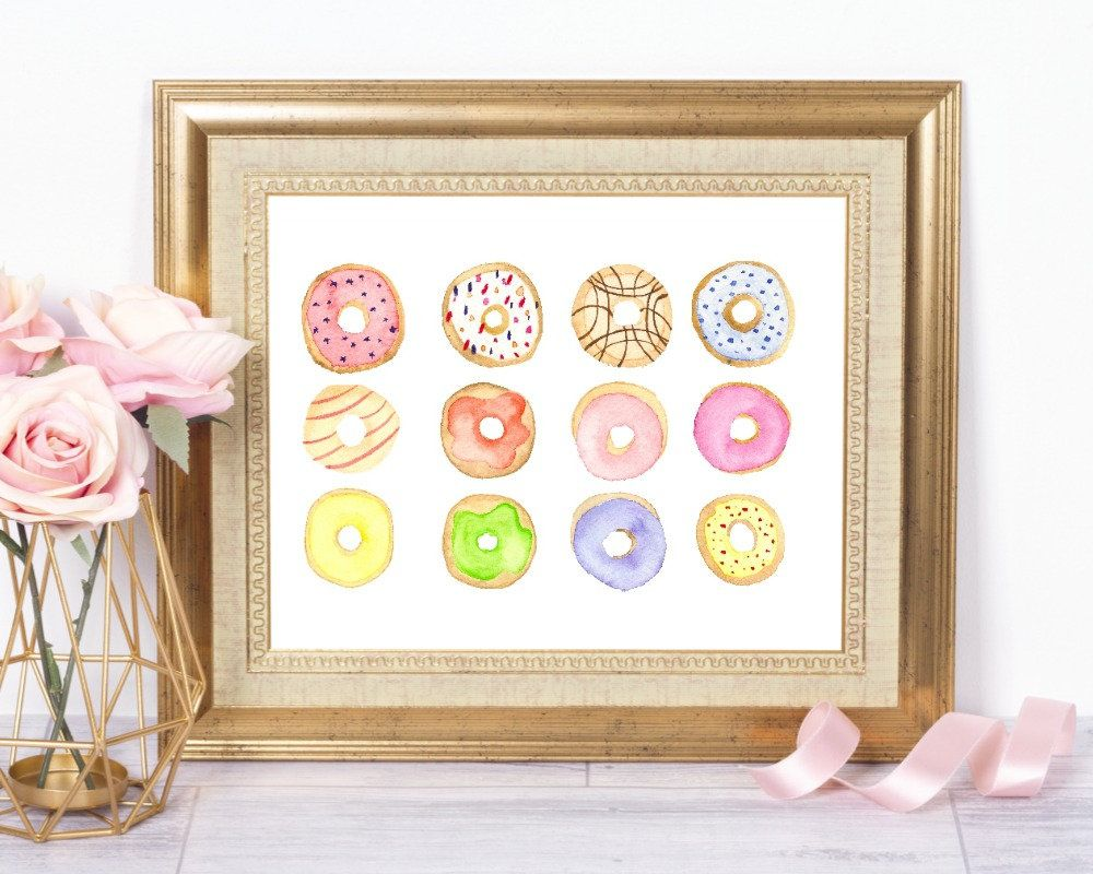 Donuts printable kitchen wall sign pastry wall art dessert
