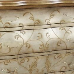 Hand Painted Distressed Gold/ Silver Bombay Accent Chest