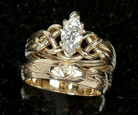 Celtic Engagement Rings Marquise Diamond Puzzle Claddagh Wedding Set