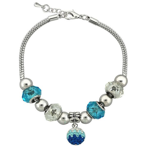 Teal Glass Bead Silver-Plated Fireball Drop Bracelet ($16