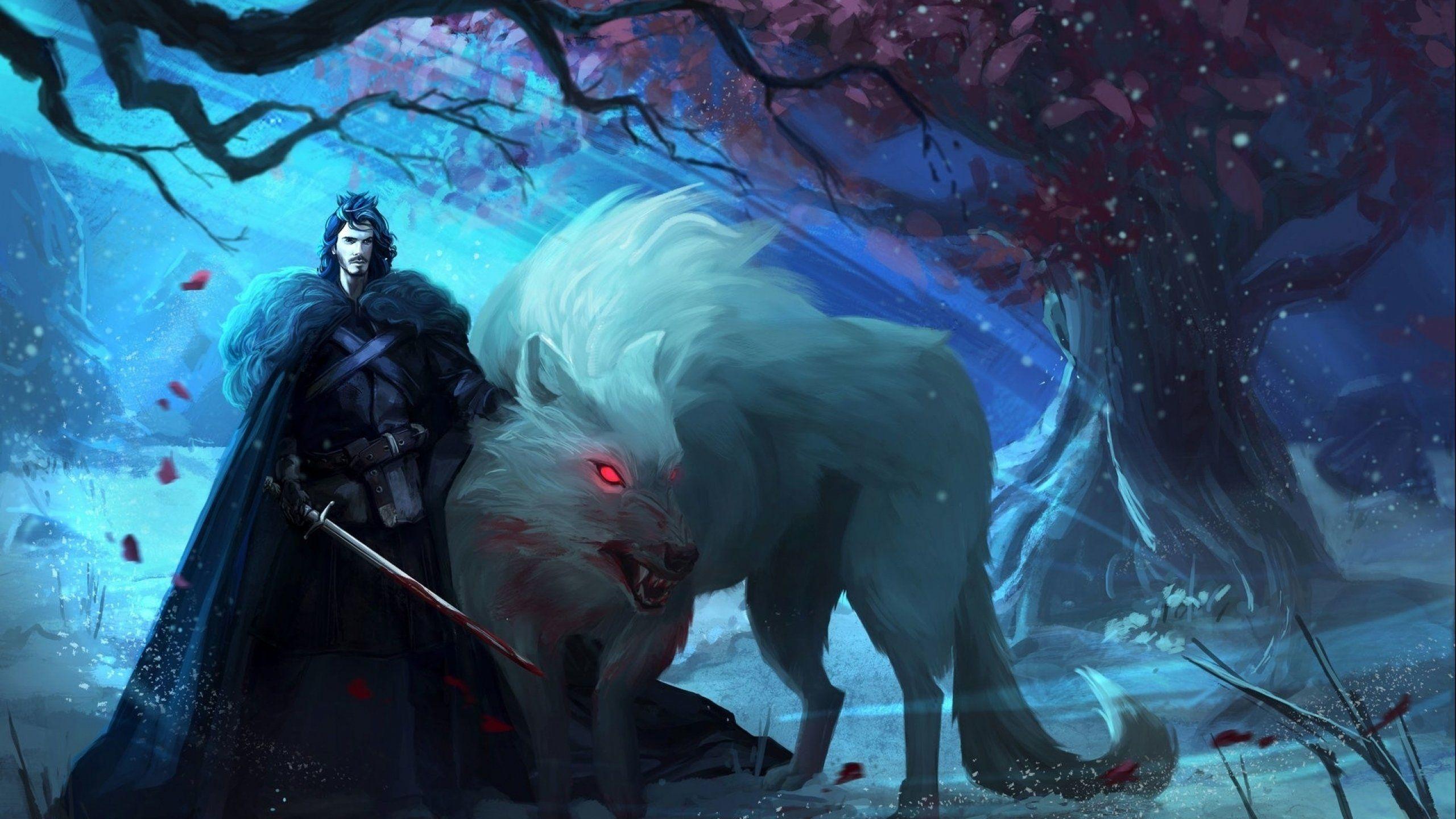 Fantasy artwork art warrior wolf wolves f wallpaper