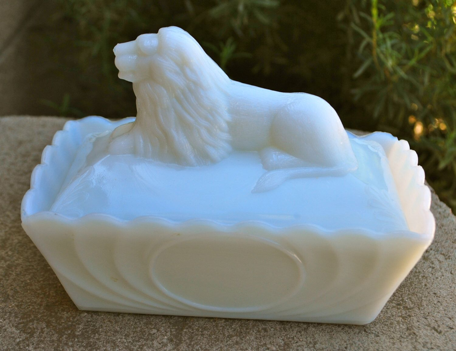 Eagle Glass Co. c.1895-1917 - Lion Milk Glass Covered Dish - Butter Dish - Trinket Box - Scalloped - Early American Pattern Glass (BV052) by BrillStreet on Etsy https://www.etsy.com/listing/233727649/eagle-glass-co-c1895-1917-lion-milk