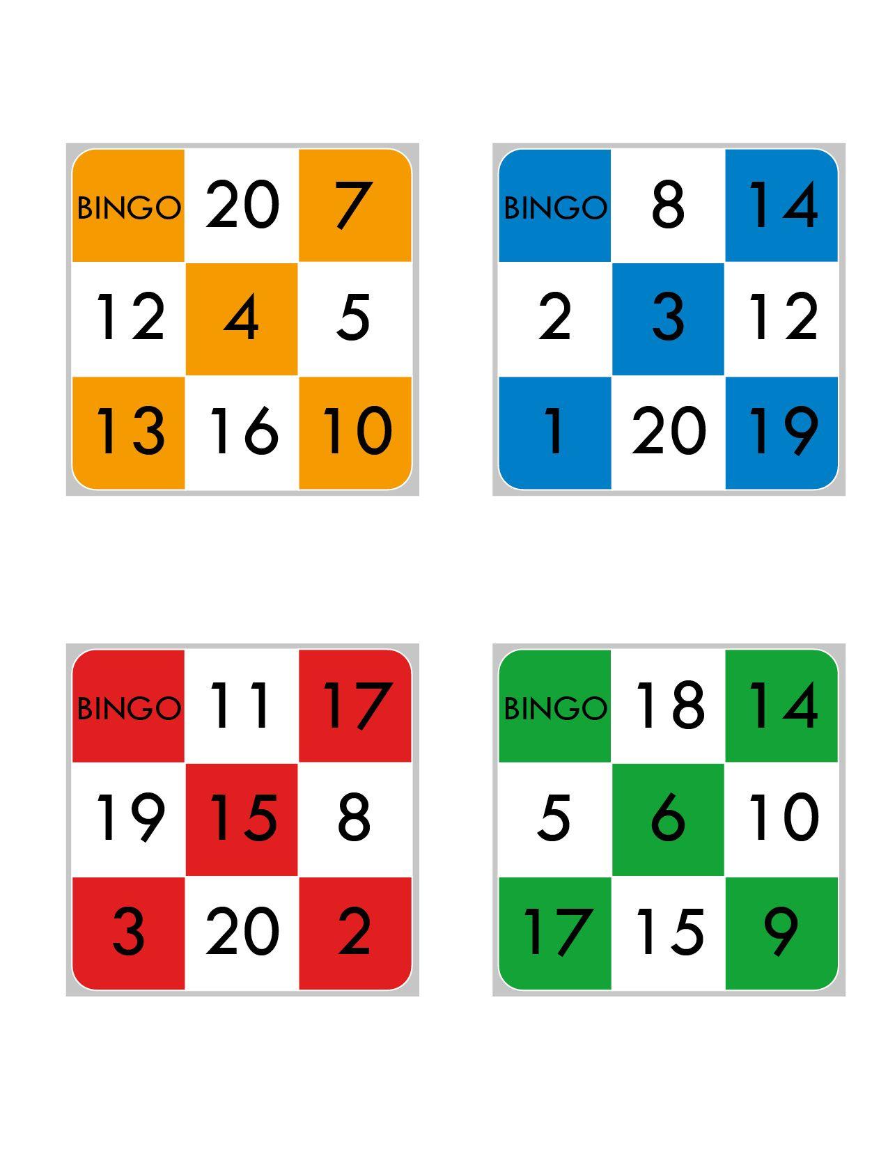 Bingo Del 1 Al 20 Bingo De Numeros Bingo Para Imprimir Bingo