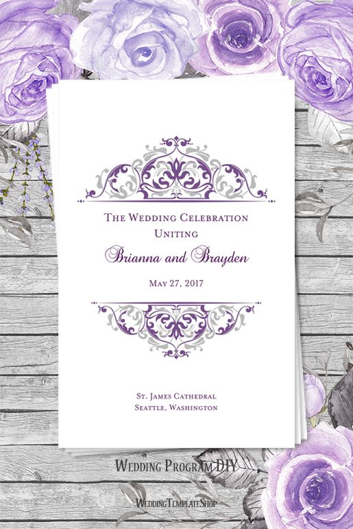 Wedding Program Template Grace Purple Silver  Program Template