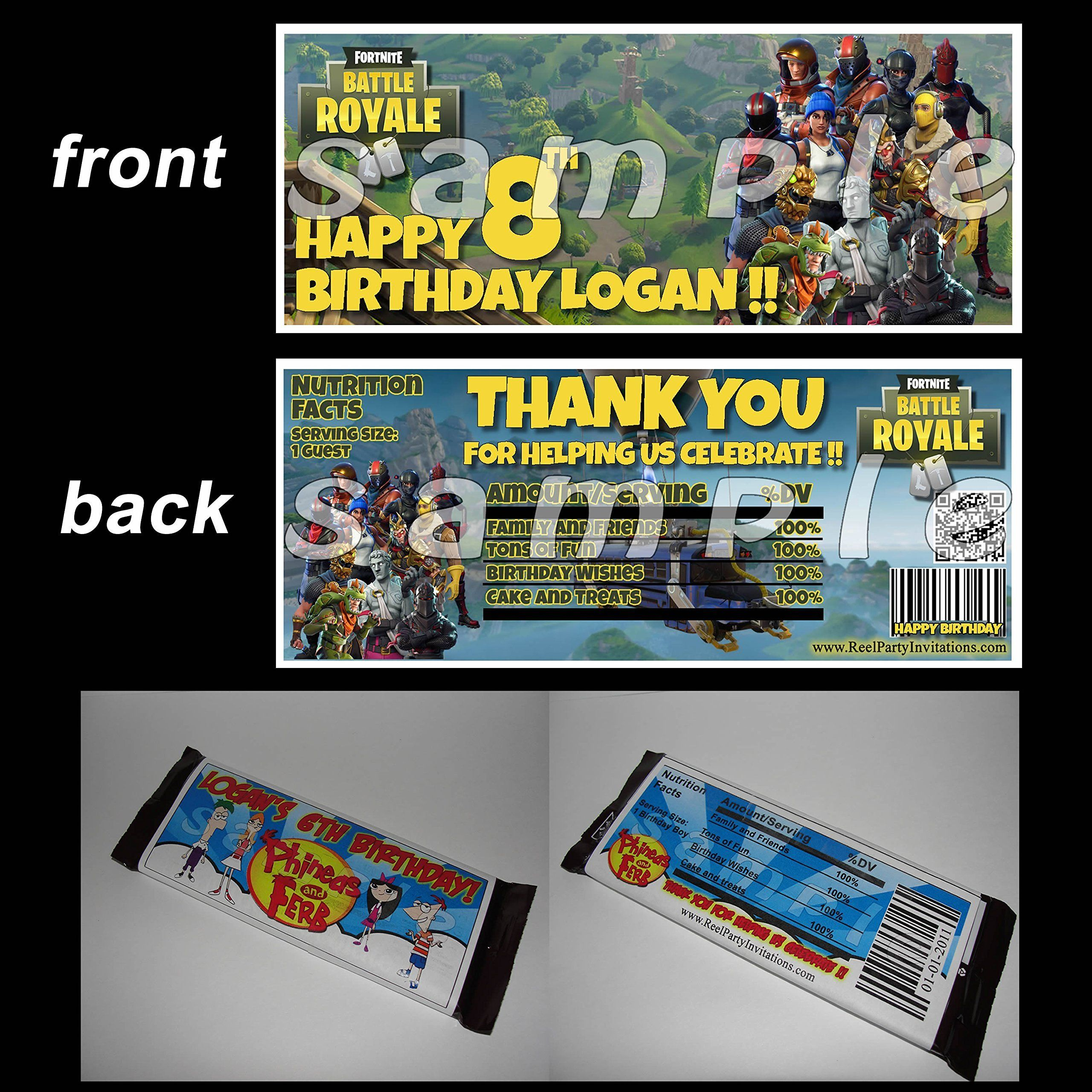 Fortnite candy bar wrapper birthday party favor decoration