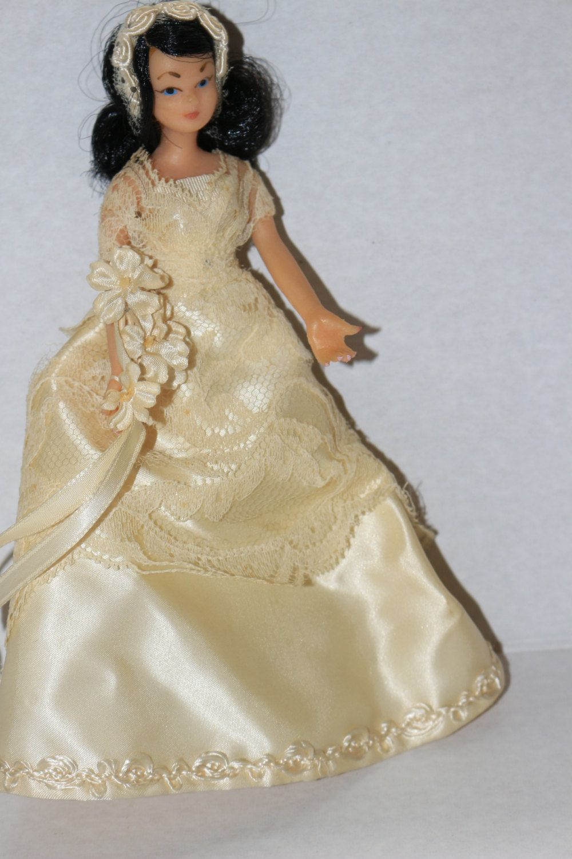 Flagg Company 1950s Vinyl Rubber Bride Doll Movable Satin Wedding ...