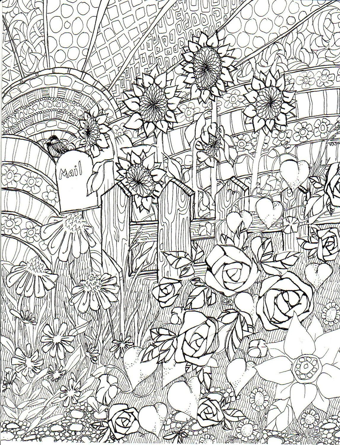 Late Summer Garden, coloring page, ink illustration, Life in Line ...