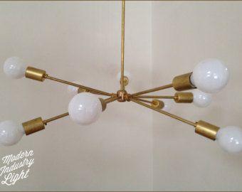 Modern brass Trio chandelier 3 Bulb by ModernIndustryLight | Fam ...