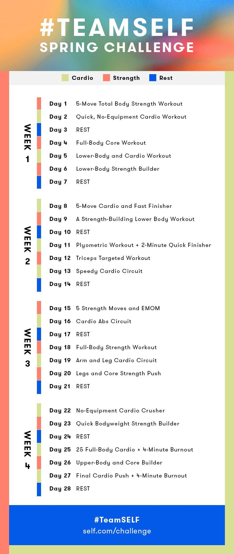 Team Self 2020 Spring Challenge Workout Calendar In 2020 Workout Calendar Spring Challenge Workout Challenge