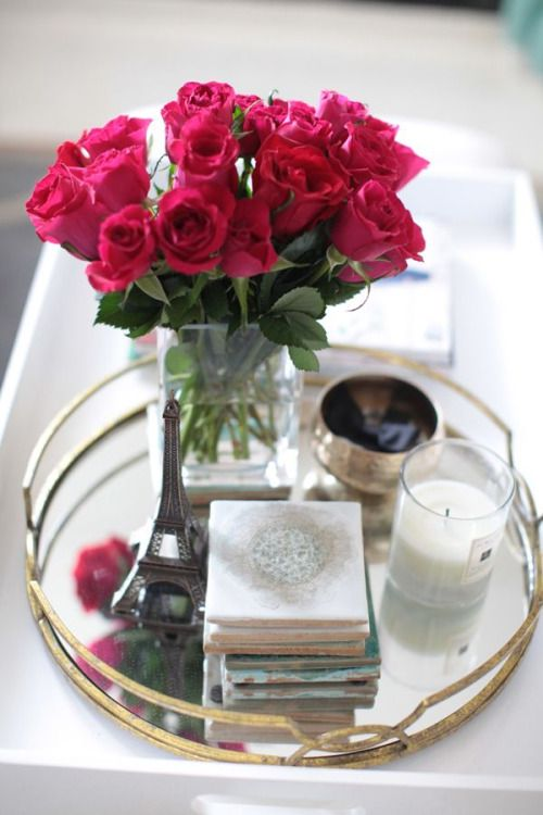 Silver Tray Coffee Table Hot Pink Roses Bouquet White