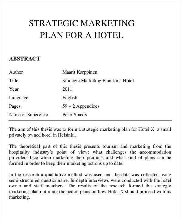 Marketing Plans for Hotel marketing Plan Template Marketing plan