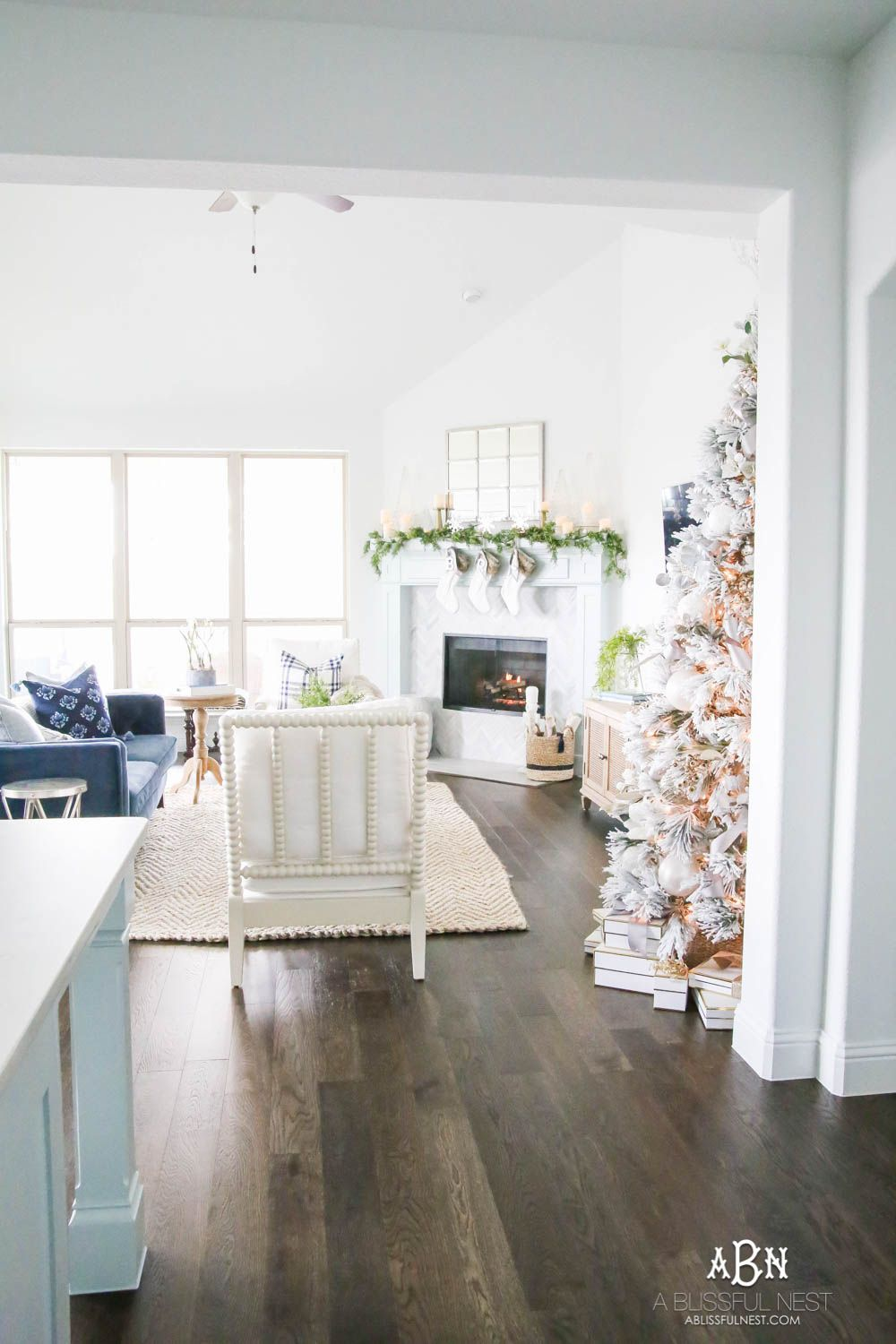 Blue And Silver Christmas Living Room Tour 2018 Christmas Living Rooms Christmas Decorations Living Room Decor #silver #and #blue #living #room