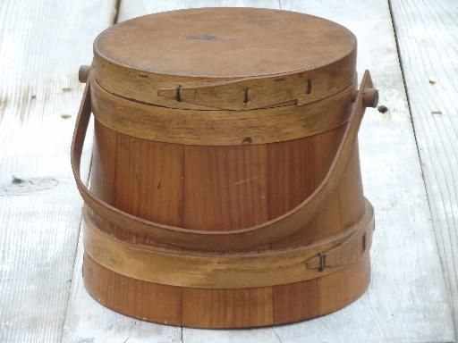 Primitive Wood Sugar Bucket Vintage Wooden Firkin Pail W Handle