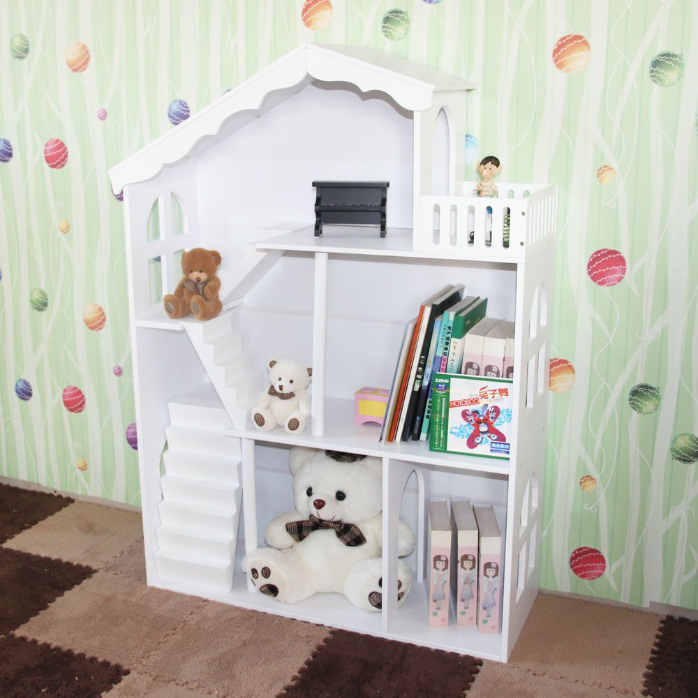 Boy S Girl S White Kids Hand Painted Dollhouse Bookcase