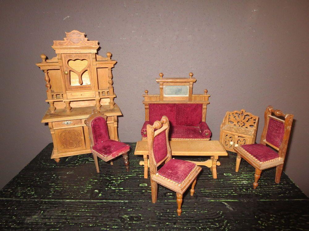 7 antike gr nderzeit m bel um 1900 schrank tisch sofa 3 st hle f r puppenstube in antiquit ten. Black Bedroom Furniture Sets. Home Design Ideas