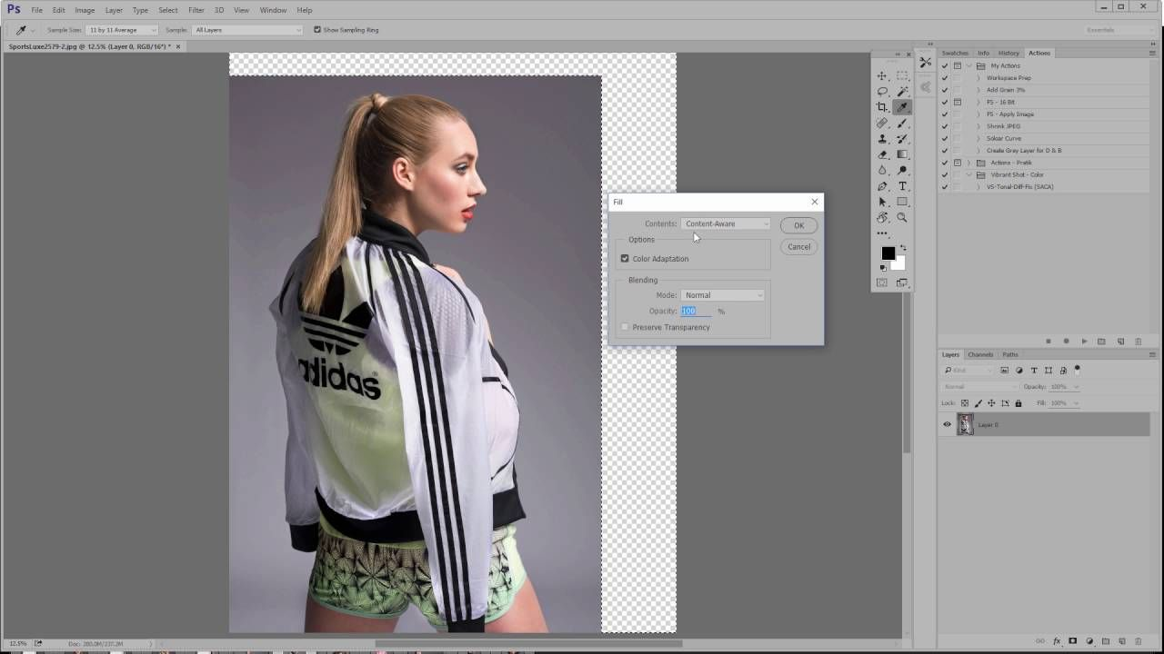 How to extend the background of an image in cc