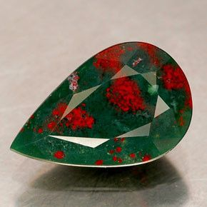 BLOODSTONE: It is an opaque, dark-green chalcedony with red