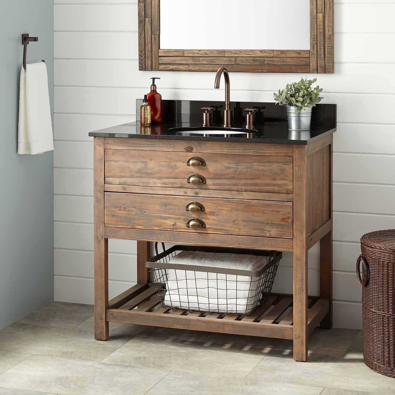 36 Benoist Reclaimed Wood Vanity For Undermount Sink Gray Wash Pine Wood Bathroom Vanity Reclaimed Wood Vanity Wood Vanity
