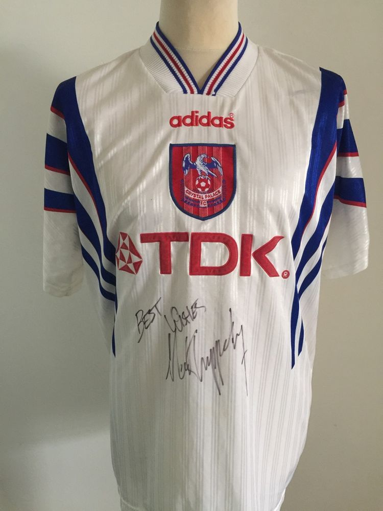 b9ef13e61 Vintage CRYSTAL PALACE 1996-1997 Away Football Shirt ADIDAS TDK Size XL  SIGNED | eBay
