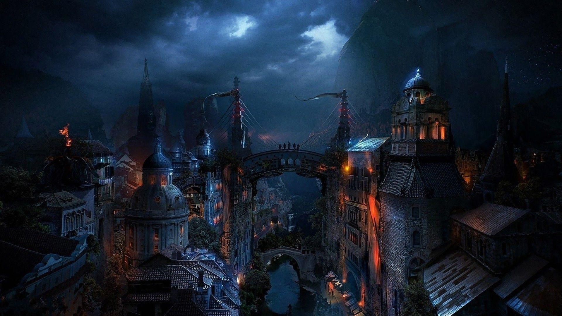 Http Www Fullhdwpp Com Wp Content Uploads Fantasy Cities Art 5 Www Fullhdwpp Com Jpg Fantasy City Dark City City Wallpaper