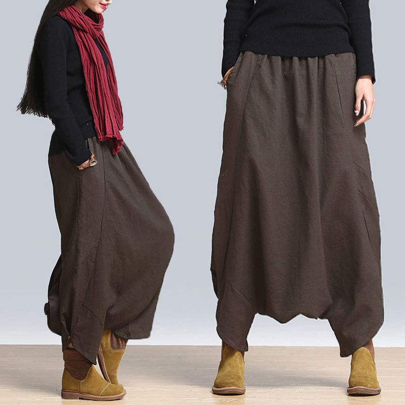 Loose Casual Solid Elastic Waist Pockets Harem Pants For Women - Newchic Mobile.