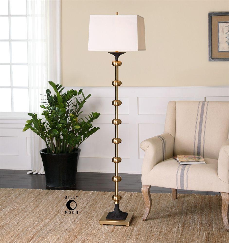 Uttermost Santona Brushed Brass Floor Lamp